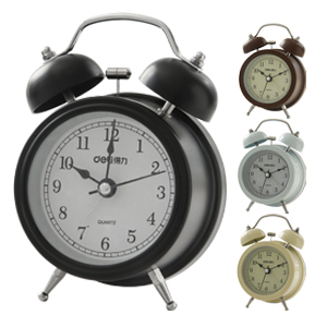 Deli 2.5 inch 9024 alarm clock mute wall clock metal double bell alarm clock function luminous electronic clock function