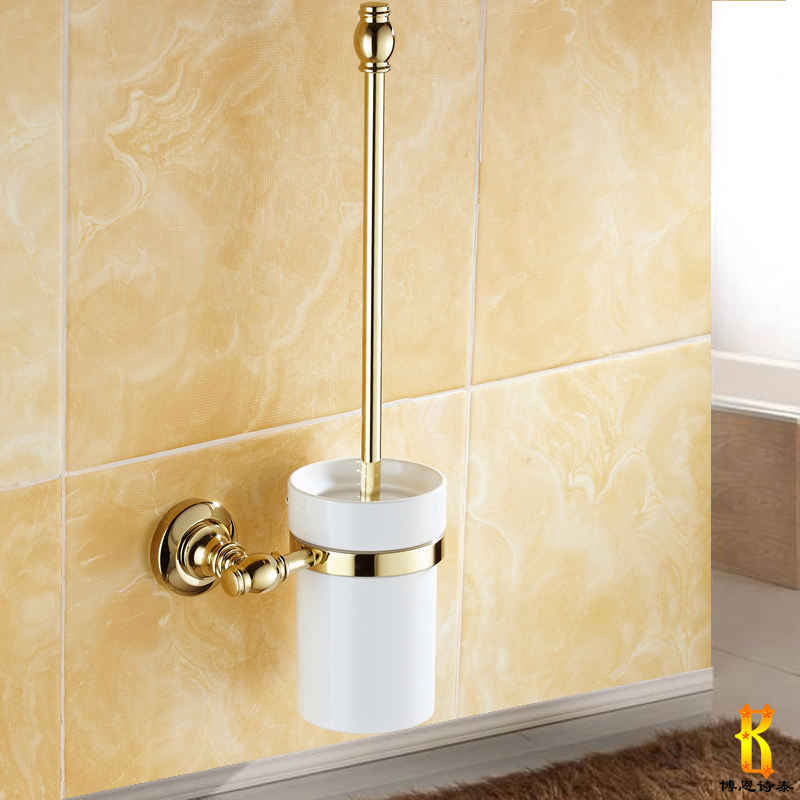 European retro ceramic zirconium gold plated antique copper toilet brush scrub clean toilet brush holder bathroom bath