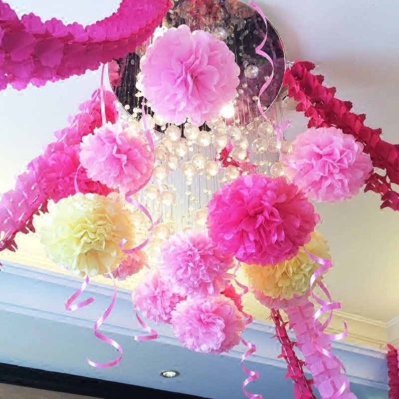 10cm paper flower ball wedding supplies paper ribbon garland decorated birthday wedding wedding marriage room furnished new house