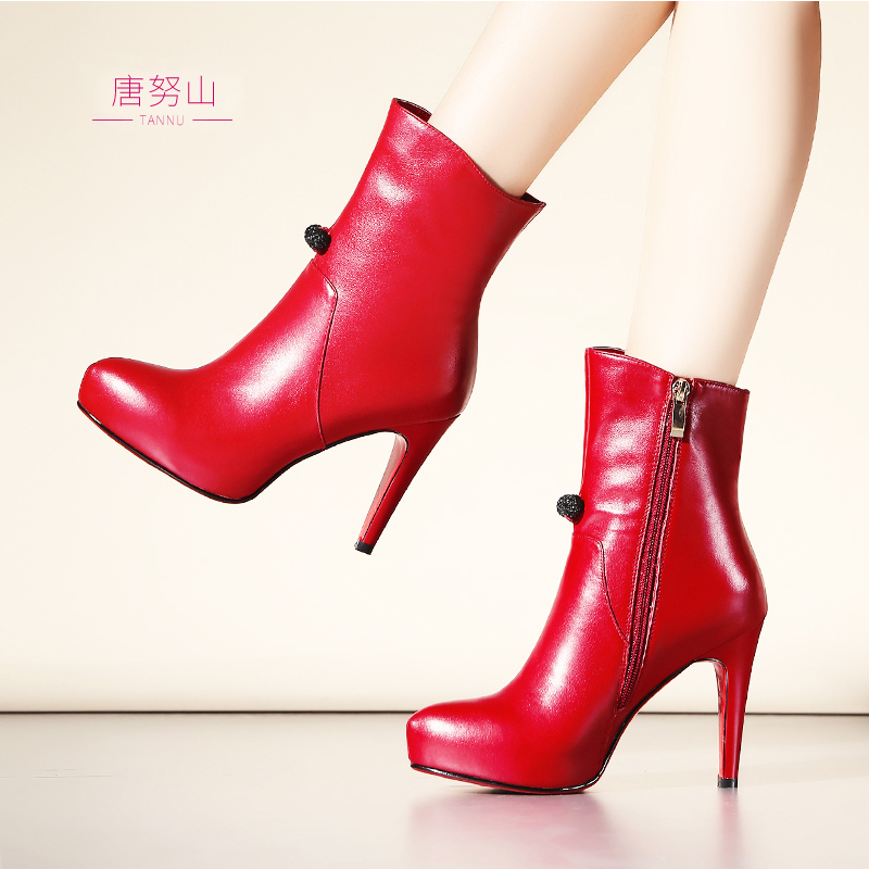 10CM super high heels sexy high heels pointed fine leather boots spring single boots naked boots red boots female