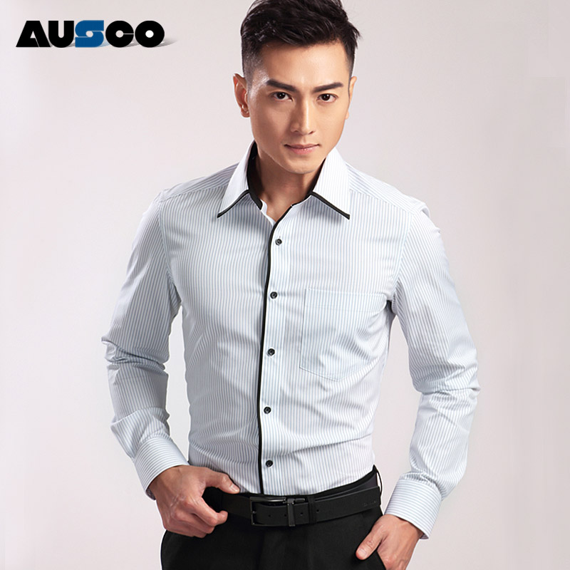 Influx of men shirt long sleeve shirt business shirt youth spring korean version of dp british gentleman slim suits solid color processing