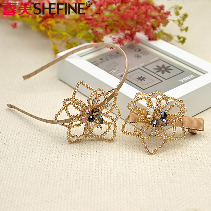 Hi fu hair korean jewelry handmade beaded headdress synthetic crystal hair bands hairpin suit shaping flowers a