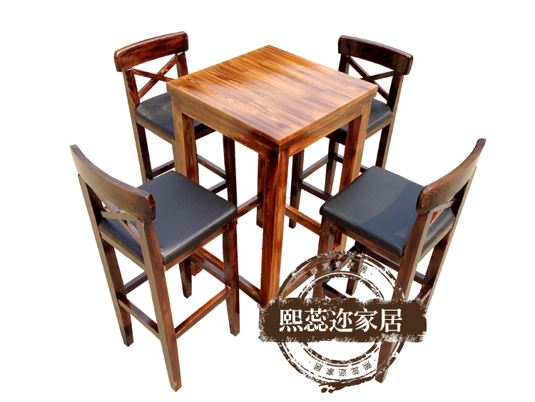 Rui xi er carbonized wood preservative tall bar stool bar cafe tables and chairs retro kit installed specials