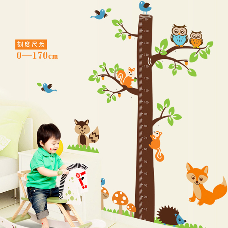 Worry klimts feet tall measuring height stickers children cartoon squirrel tree bedroom living room decorative stickers