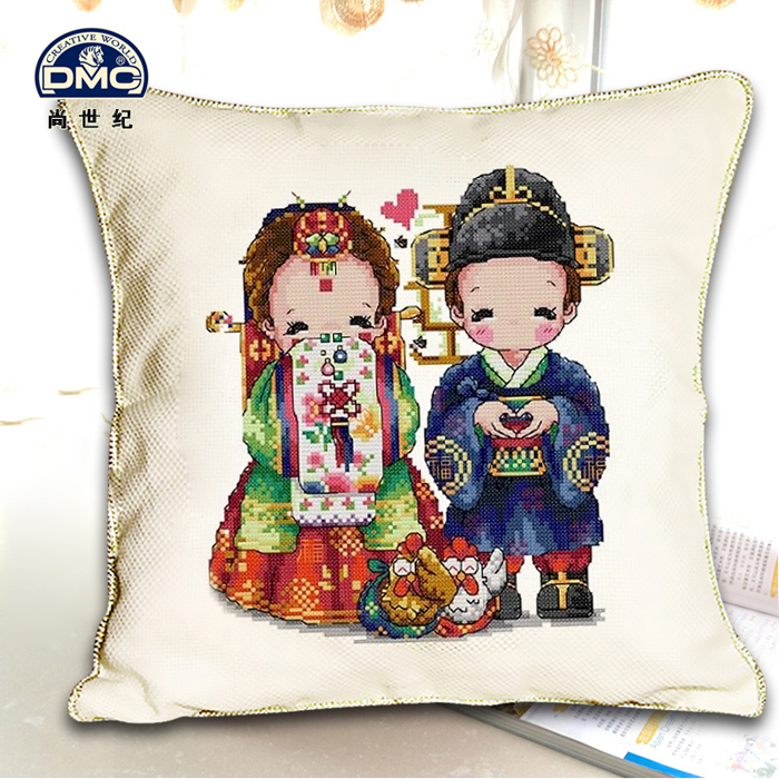 Dmc cross stitch genuine monopoly new cross stitch pillow series | korean wedding white