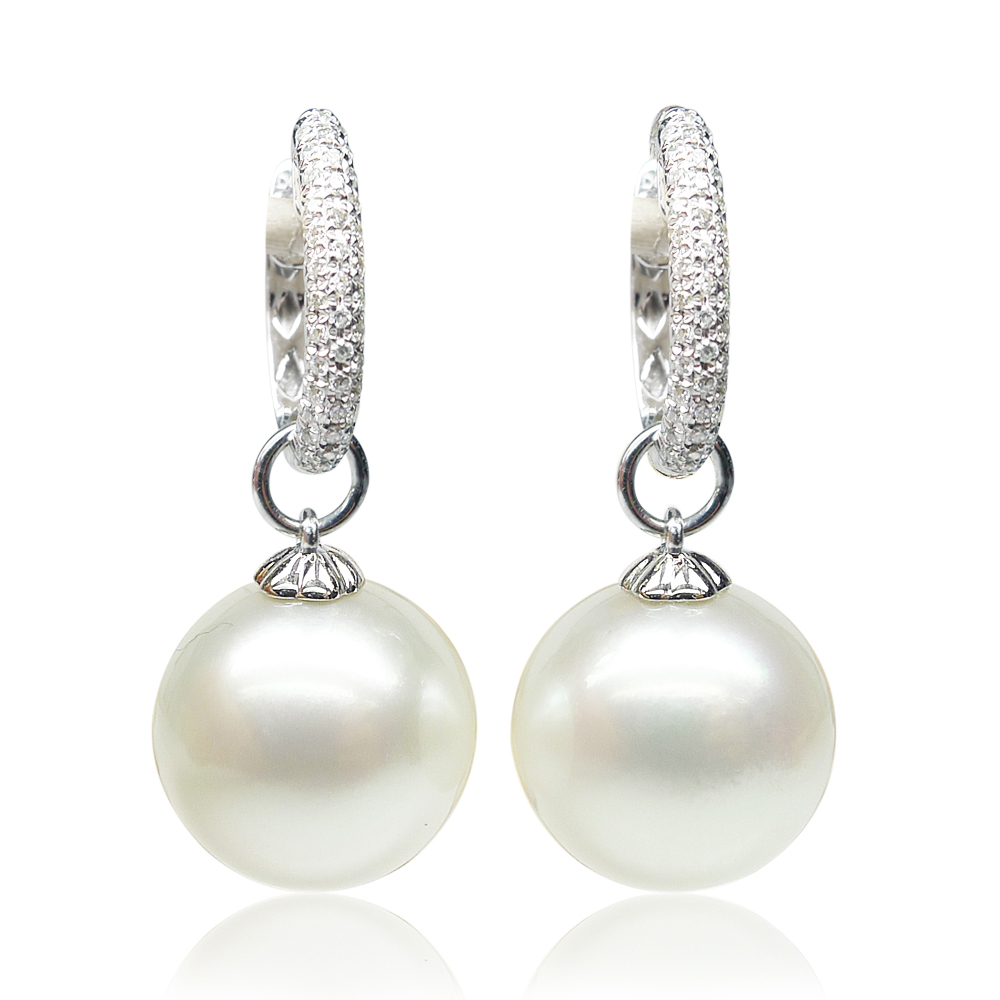 Qin think [yi zhen] white south sea pearl earrings ear clip earrings 12-13 MM18K gold delicate pearl
