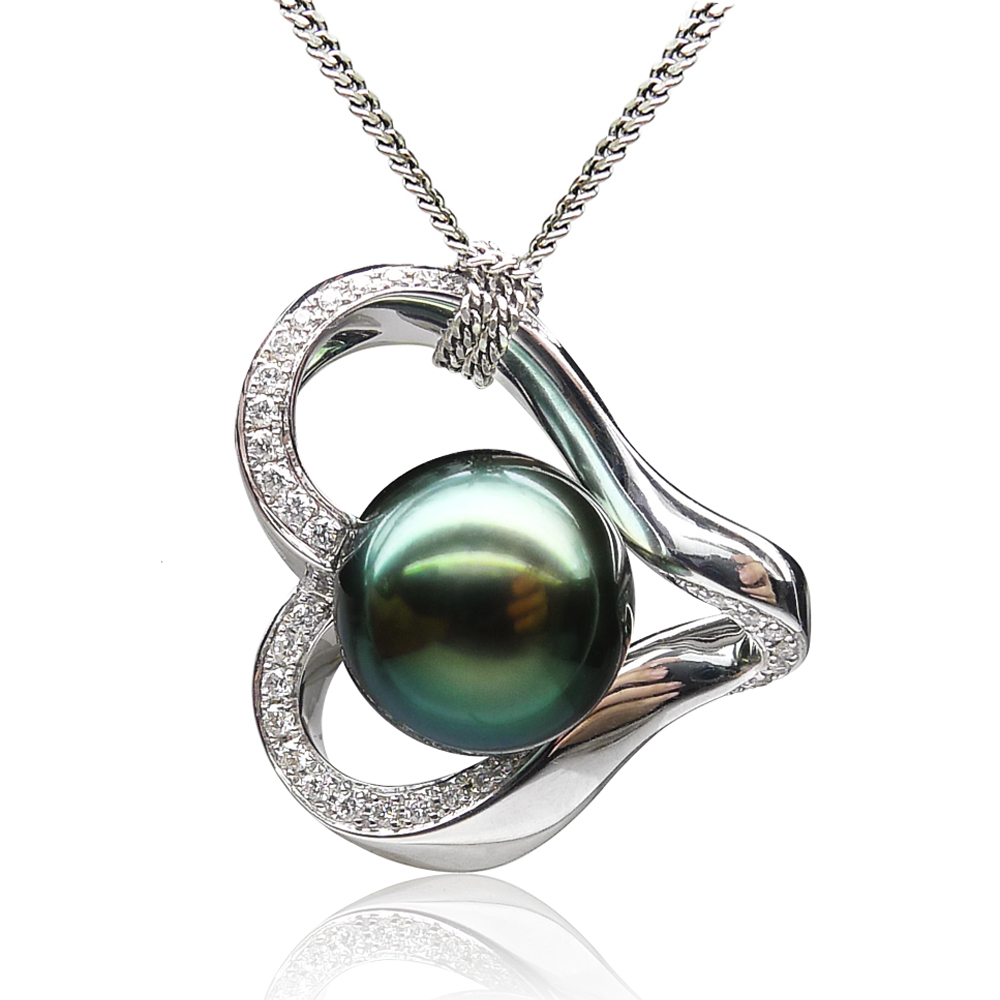 Qin think [guard] tahitian black pearls sea pearl pendant 10.30 MM18k golden peacock green