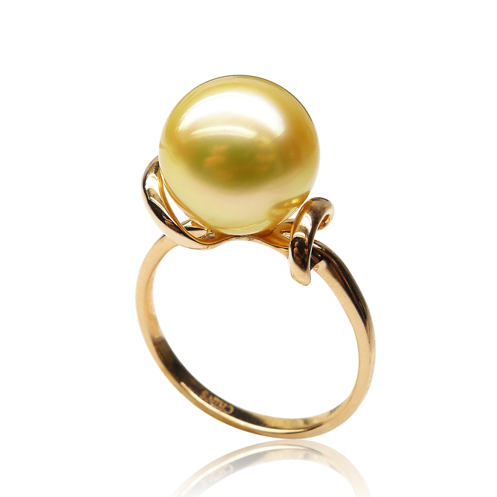 Qin think [simple atmosphere] natural golden south sea pearl ring 11.05mm