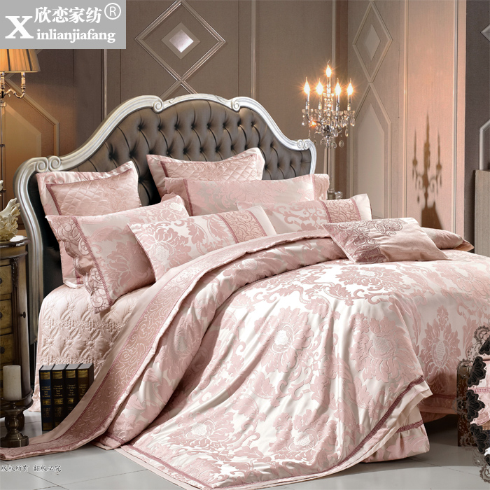 Love welcomes european and american style villa home bedding textile silk satin jacquard textile bed cover four sets of eighty