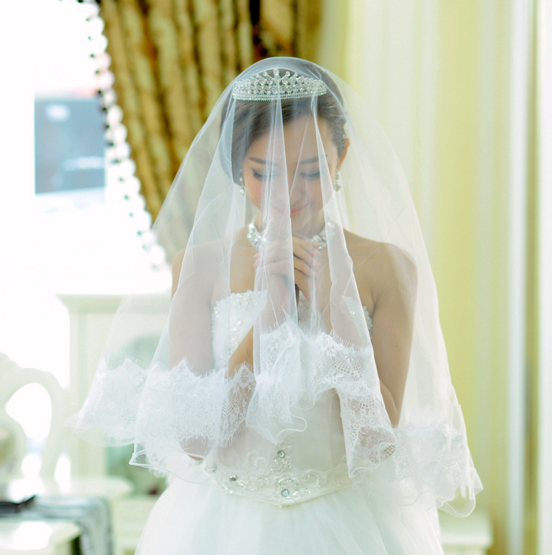 Yi mandi bride wedding sweet accessorise korean lace veil bridal veil wedding dress veil 66