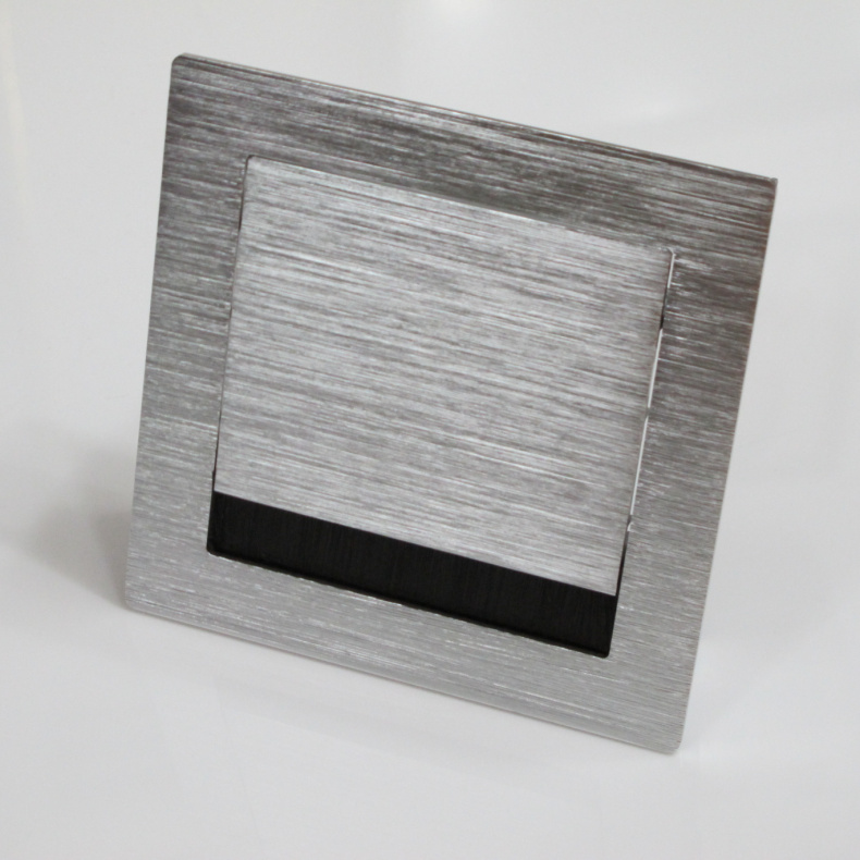 120 * 120mm thick brushed silver aluminum box with a brush wire threading box manhole cover alignment hole Box