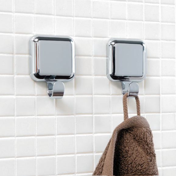 Spirella si purui simple square silver abs plastic bathroom decoration sided adhesive hook/sticky hooks