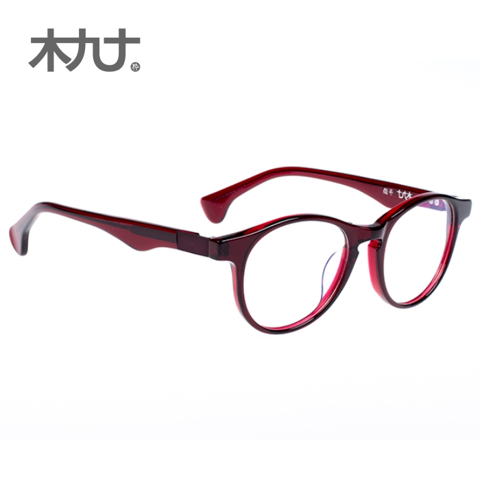 Wood ninety counter new 22064b gas quality men and women retro japanese literary tortoiseshell burgundy round frame glasses frame