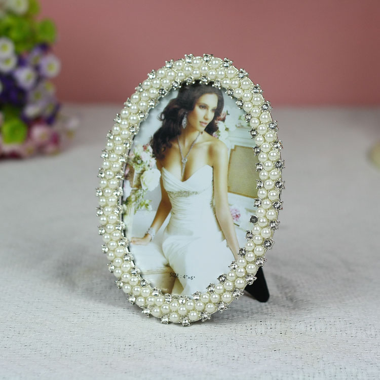 Tqj/6 inch/7 inch euclidian alloy frames/inlay diamond/pearl wedding oval frame /T61656.7
