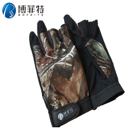 Bo feite leak camouflage gloves three finger wearable gloves fishing gloves slip mosquito can prevent fish bone to