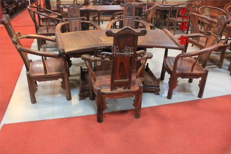 Cochin rosewood mahogany furniture/laos rosewood tea table tea table and six sets/wood parlor tea table/