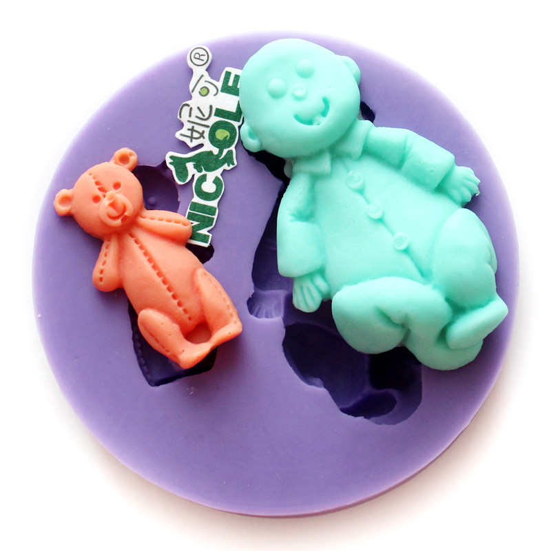 Nicole bear silicone mold chocolate mold jewelry accessories apparel bags soft mold soap mold