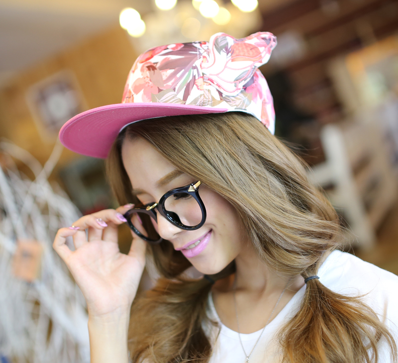 Rayli 2014 new miss han ban pink plant darvin short brimmed baseball cap visor hat in summer and autumn k463
