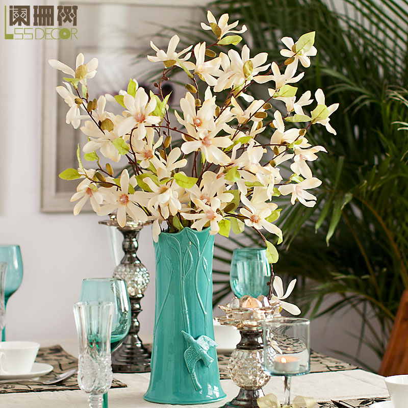 Waning Tree European Small Dried Magnolia Silk Flower Table Flowers Artificial Wedding