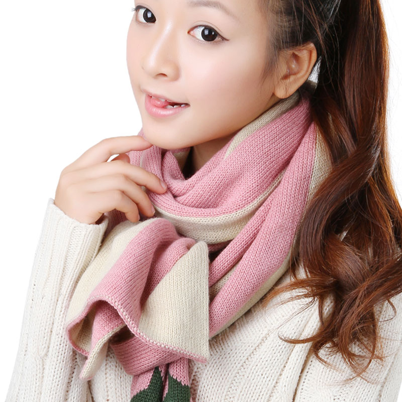 Korpi korean version of the 2015 autumn and winter days warm pink ladies fashion wild striped long section of star thick scarf 0215