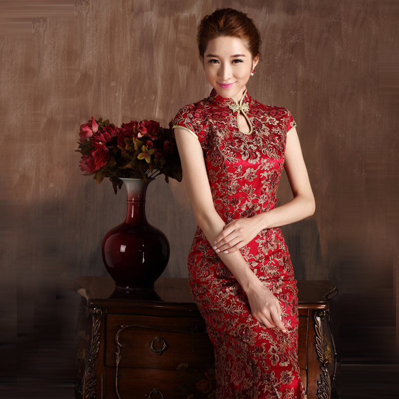 2015 new wedding dress the bride cheongsam dress toast cheongsam dress long section of chinese cheongsam dress upscale complex gulei si