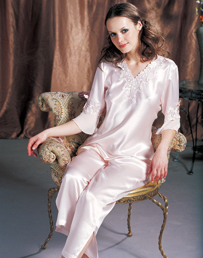 [Mother's day gift special offer free shipping] wong silk heavy silk pajamas silk suit spring models summer