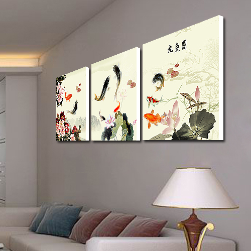 Modern crystal painting decorative painting the living room decorative painting frame painting modern frameless painting decorative painting nine fish figure painting decorative paintings