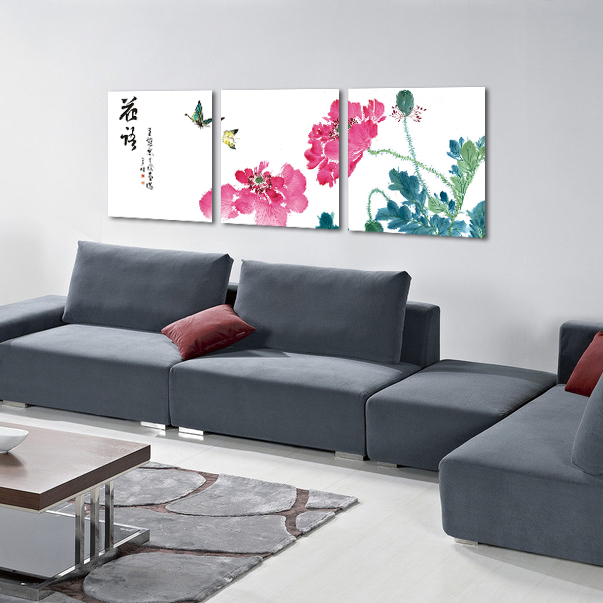 Crystal painting the living room mural paintings decorative painting the living room triple frameless painting decorative painting flowers classical chinese style painting restaurant