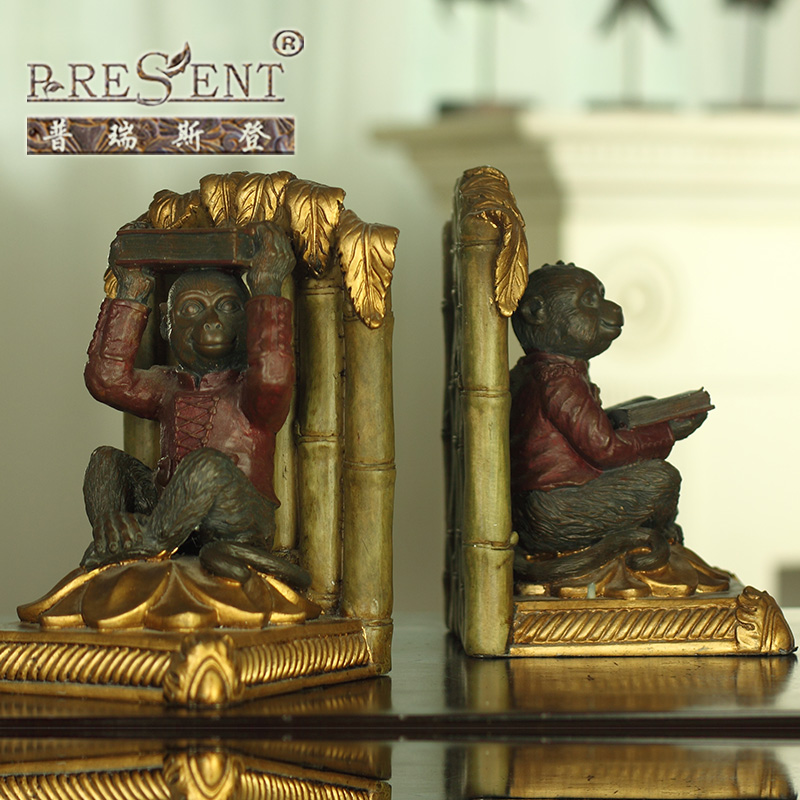 Puri stearns authentic european and american style classical ornaments monkey resin bookends book by book has established home decorations