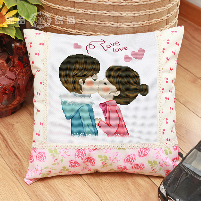 Jin hao new stitch precision printing pillow married couples cartoon car pillow cushion love sail shipping
