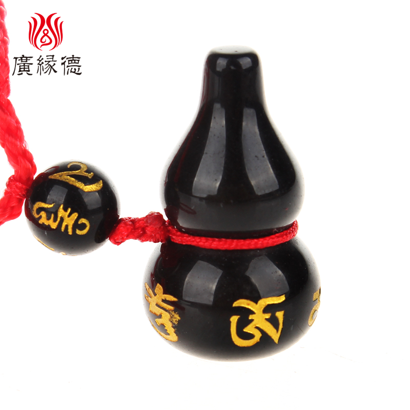 Wide margin de feng shui natural obsidian gourd necklace six sub mantra gourd phone chain pendant jewelry crafts