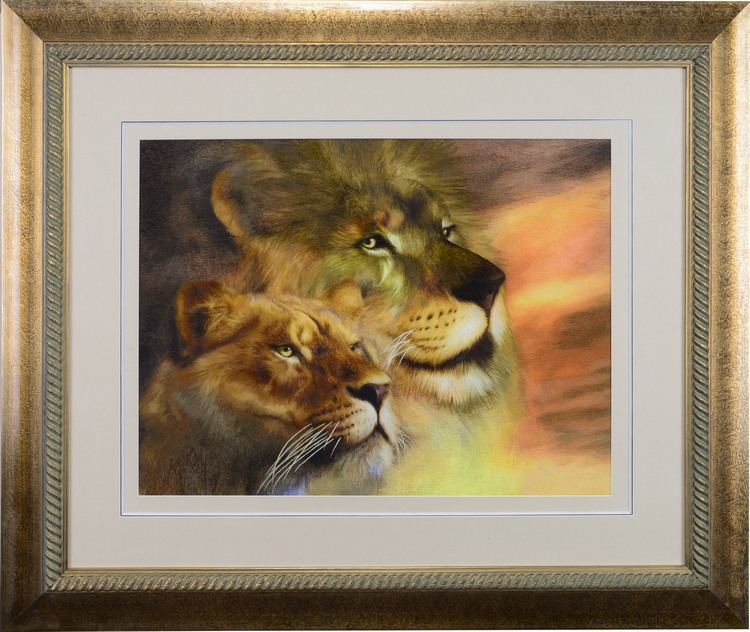 Jin wu needle handmade embroidery suzhou embroidery finished paintings decorative painting the living room den lion 50*65 cm