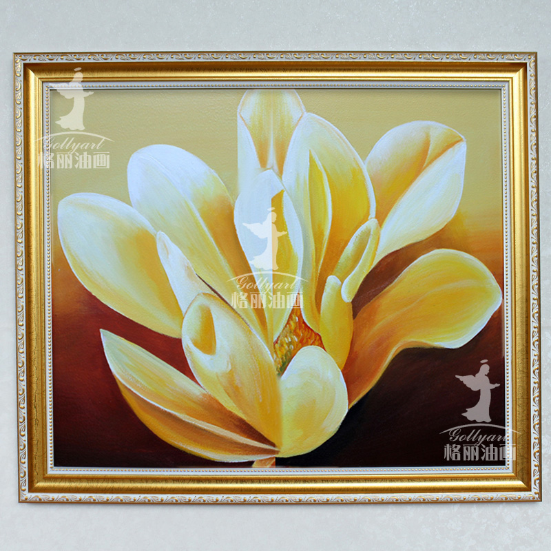 Bulgari painted oil painting flowers restaurant decorative painting framed painting wall paintings home x 68cm magnolia blossoms