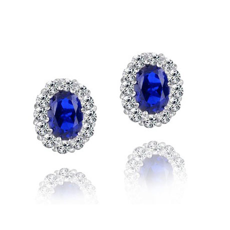 S925 silver earrings female korean temperament blue crystal earrings silver earrings silver needle hypoallergenic earrings authentic korean version of the influx of money