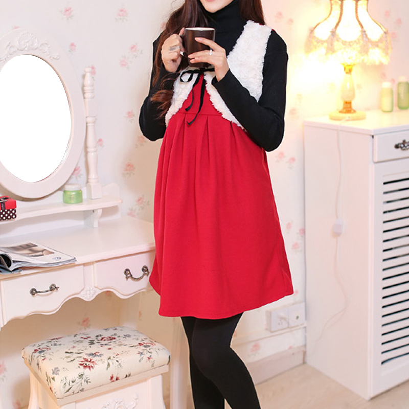 Maternity fall and winter clothes korean version of the new fashion women skirt pregnant women dress vest dress for pregnant women fall and winter care of pregnant women