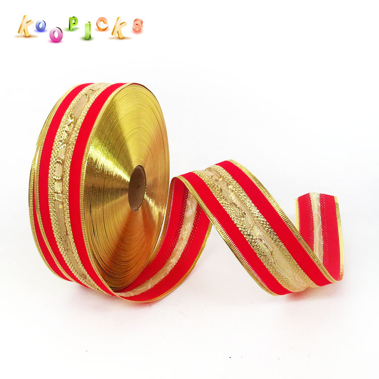 Pinsent cool off 5 * 200cm flocking upscale red and gold christmas tree christmas scene decorative ribbon color ribbon