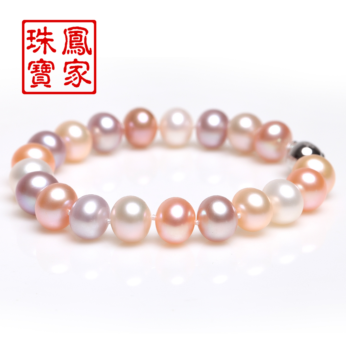 Phoenix jewelry natural pearl bracelet nearly round mixed color light translucent pearl genuine 925 silver clasp