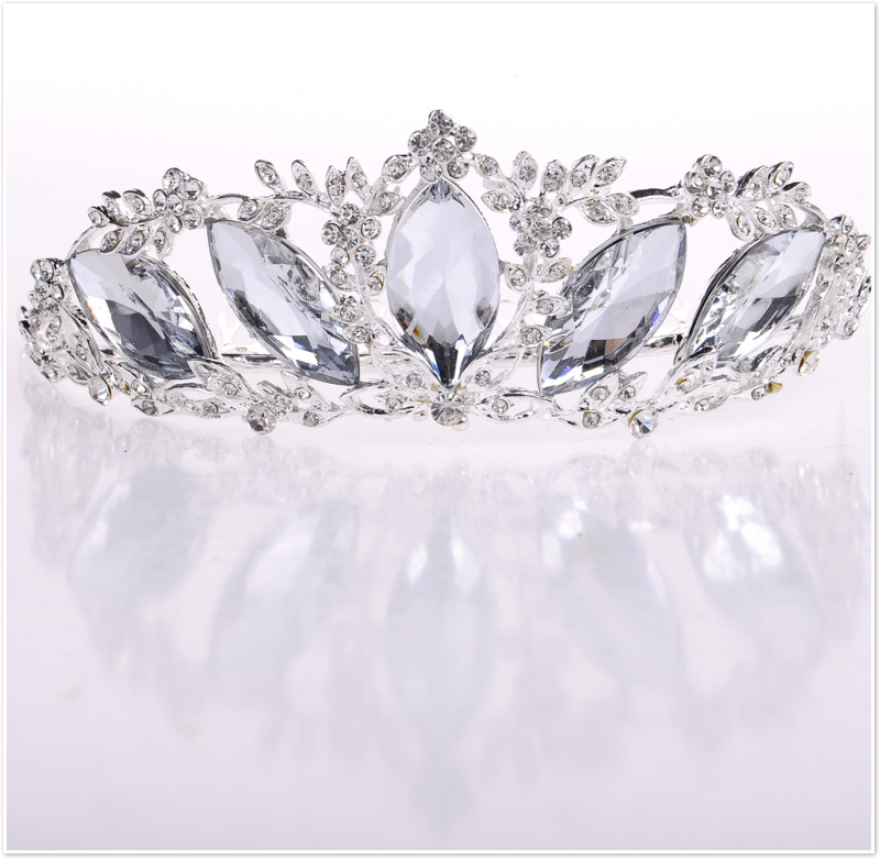 The new glass diamond bridal jewelry tiara crown crown crown tiara wedding dress accessories