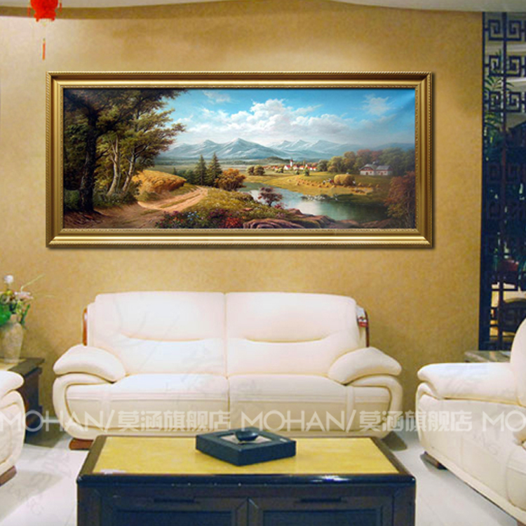 European landscapes painted pure hand painted oil painting decorative painting the living room sofa background wall painting handmade