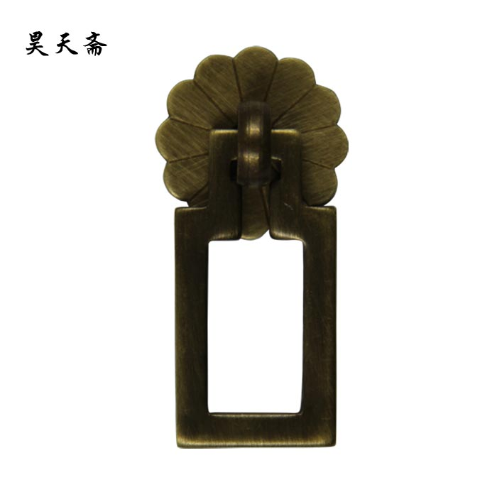 Haotian vegetarian chinese classical antique bronze door handle drawer handle the ming and qing burglarproof pure copper square handle drawer handle