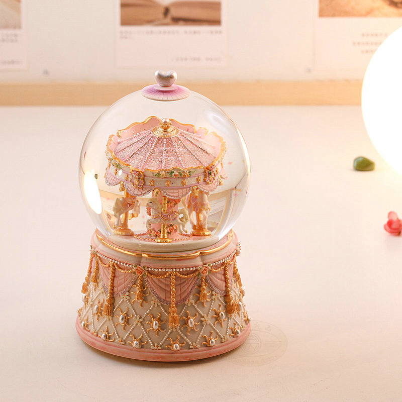 Colorful lights rotating crystal ball music box music box creative valentine's day to send his girlfriend practical