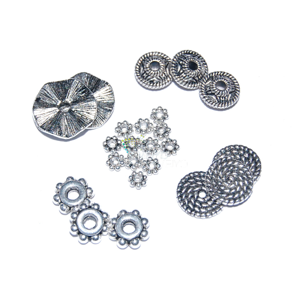 Us foreign diy jewelry retro alloy antique silver spacer beads tibetan silver flower spacer spacer spacer 7 leaves 8 leaves flowers