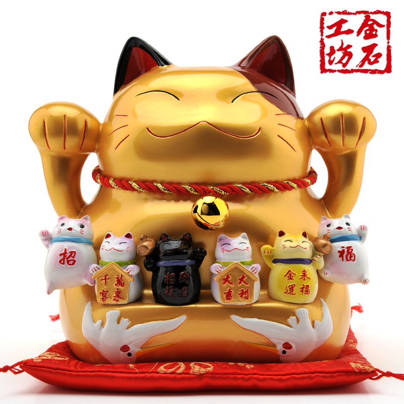 Golden lucky cat lucky cat workshop stone ornaments large opening gifts shop gifts fortune cat