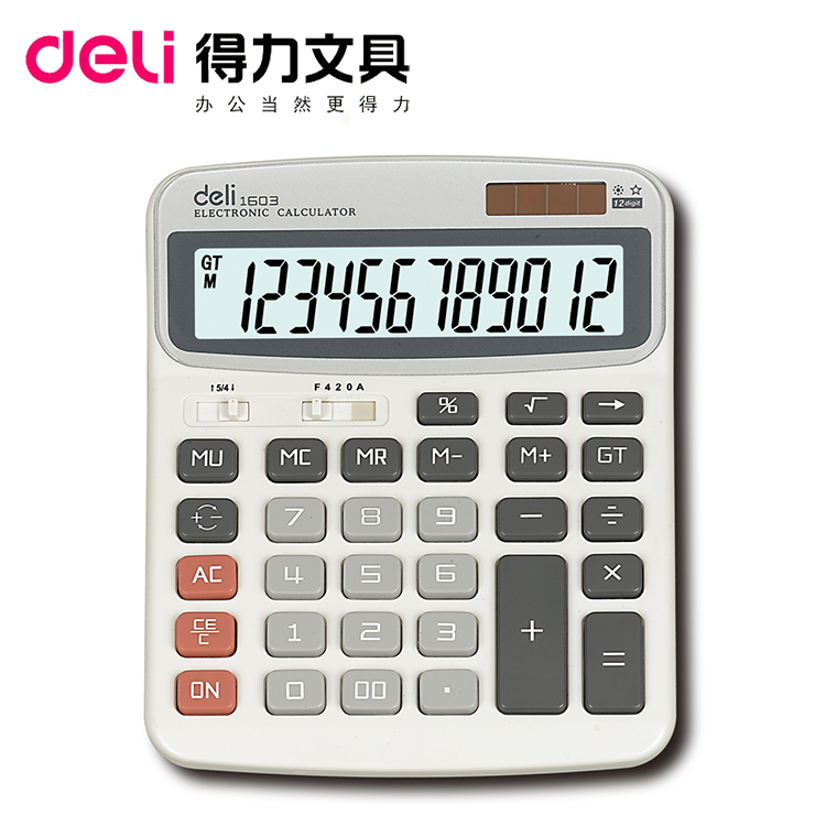 Get Quotations · Deli 1603 Calculator 12 Solar Dual Power Computer Office  Supplies Stationery Boutique