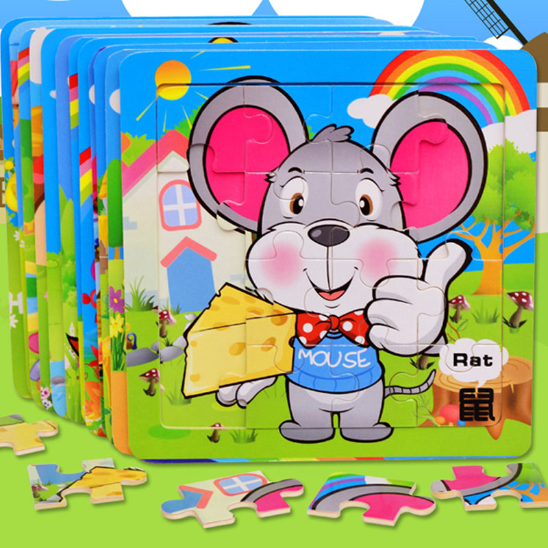 16 cartoon jigsaw puzzle wooden jigsaw puzzle jigsaw puzzle baby infant child early childhood educational toy building blocks gift