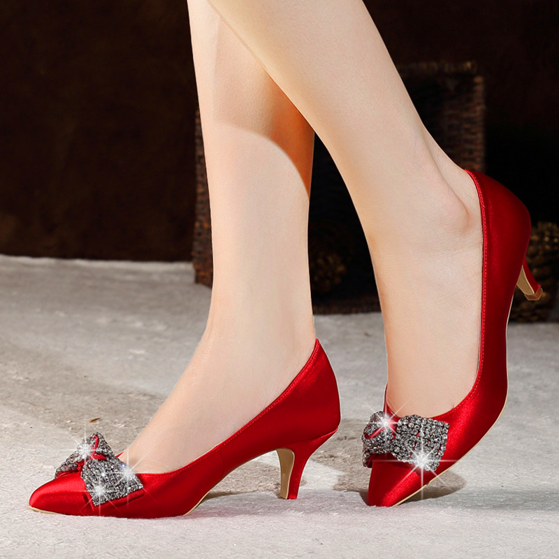 16 spring and autumn with the new diamond bow low heel wedding shoes red bridal shoes cloth shoes shoes dress shoes red shoes