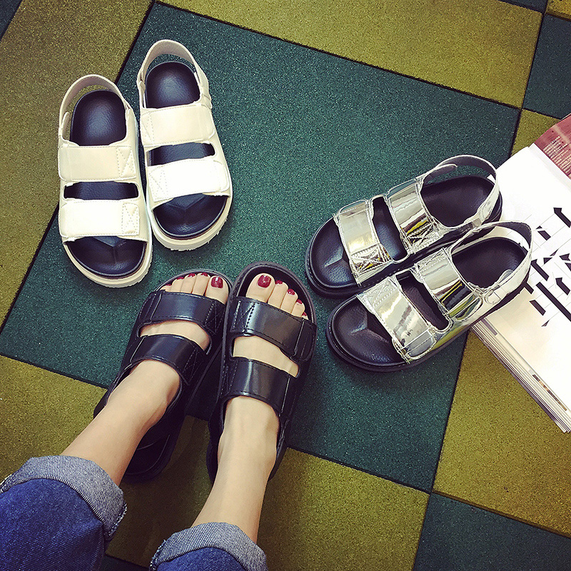 16 summer new fashion shoes flat casual shoes student in rome with female summer sandals shoes korean version of harajuku style