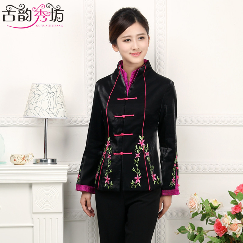 Show square rhyme autumn middle-aged ladies costume improved chinese embroidery mother dress spring and autumn women's long sleeve shirt