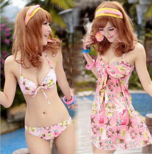 2013 new korean fashion sexy new bikini steel prop swimwear female swimsuit couple starfish