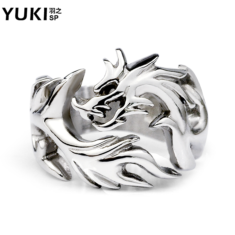 Yuki jewelry male titanium steel defensive ring exaggerated influx of people in europe and america style personality influx of people forefinger nightspots accessorise